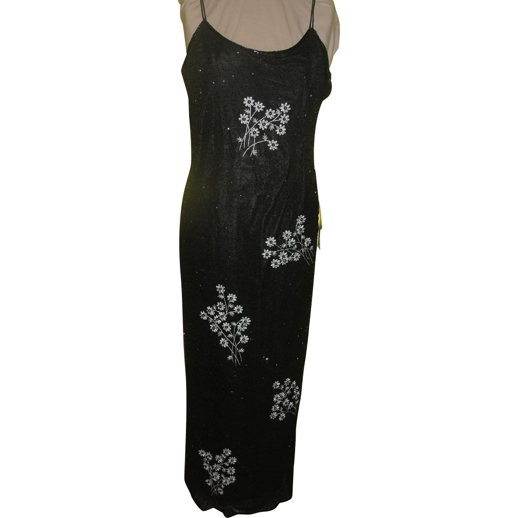 Silver Flowers Black beaded Dress/gown