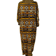 Gray and Gold African Pattern Dress