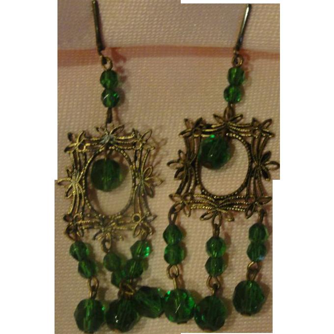 Green Stone Chandelier Screw Back Earrings - Free shipping