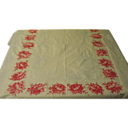 Palest Blue with Pink Pom Pom Flowers Tablecloth - b168