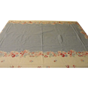 Pink Daisies and Blue Border Tablecloth - b168