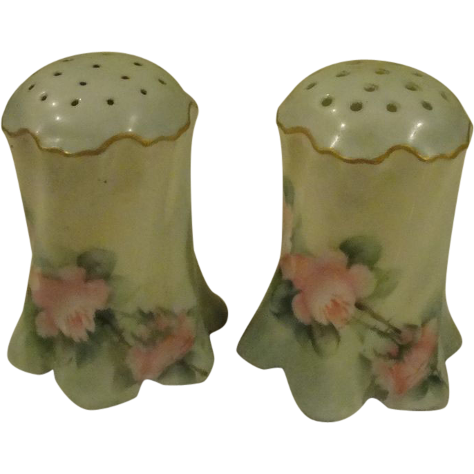 Pink Roses Bavarian Salt and Pepper Shakers - b169