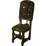 Have a seat Silver and marcasite Chair Pin - Free shipping