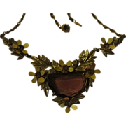 Flowers Around Purple Stone Necklace - Free shipping