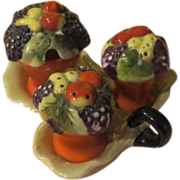 Basket of Fruit Salt and Pepper Condiment set on Lusterware Tray - b56