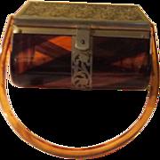 Brass Trimmed Tortoise Lucite Handbag/purse - b56