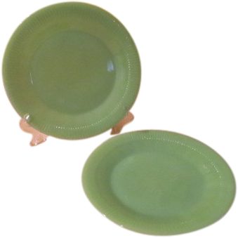 Fire King Jane Ray Jade-ite Dinner Plates - g