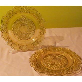 Mayfair Federal Glass Amber Dinner Plates - g