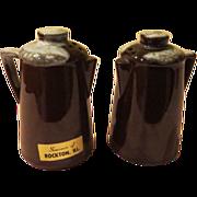 Brown Glazed Coffee Pot Salt ans Pepper Shakers - b56