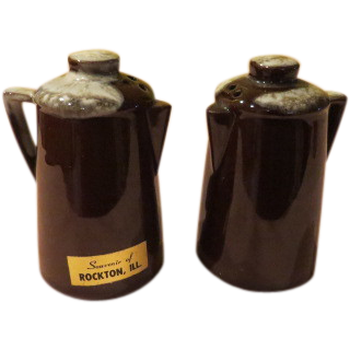 Brown Glazed Coffee Pot Salt ans Pepper Shakers - b56
