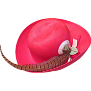 Cherry Red Hat with Pheasant Feather