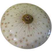 Atomic Starburst Mid-century Flying Saucer Glass Ceiling Shade - g