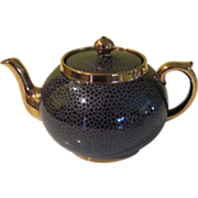 Gibson Gold Trim Crackle Finish Tea Pot - b59