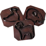 Copper Barnyard Menagerie Ram, Duck and Pig Cookie Cutters - b59