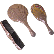 Shell Designed Art Deco 3 piece Vanity Set - b60