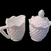 Hobnail Milk Glass Creamer and Sugar Bowl - b60
