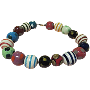Striped and Polka Dotted  Painted Chunky Bead Necklace - free shipping