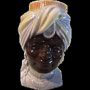 Royal copley Blackamoor Head vase/wall pocket - b61