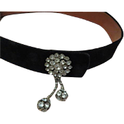 Never Basic Black Velvet  Belt with Rhinestone Accent - b63