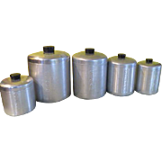 Mid-century Spun aluminum Canister with Grease Can - g