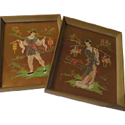 Pastels on Gold Mei Mei Asian themed Paintings - b62