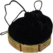 Black Velvet Drawstring Handbag/purse with Gold Tone Base - b62