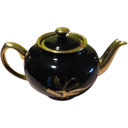 Sadler Black with Golden Wheat Tea Pot - b63