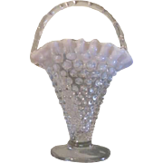 Fenton Hobnail Clear to White Opalescent Basket with Bamboo Handle - b61