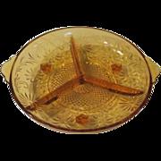 Daisy Indiana Glass 3-part Amber Glass Relish Dish - b61