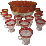 Indiana Glass Lexington Ruby Flashed Punch bowl with Cups - w/c