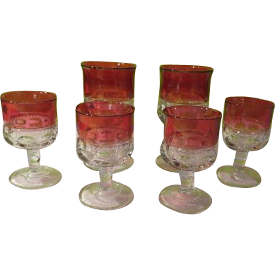 Kings Crown thumbprint Stemmed Wine and Water Glasses - b172 (66)