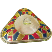 "Inland Glass Triangle Casserole with ""Stained Glass"" Lid - b176"
