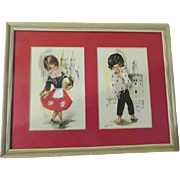 Embroidered Gallada Postcards French Sir and Lady - Matted in Frame - b175