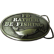 "I""d Rather be Fishing Capt Hawks Sky Patrol Pewter Belt Buckle - Free shipping"