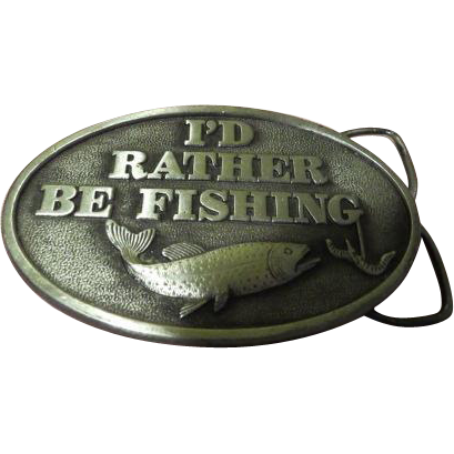 """I""""d Rather be Fishing Capt Hawks Sky Patrol Pewter Belt Buckle - Free shipping"""