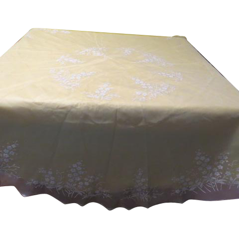 Flocked Flowers on Sheer White Tablecloth - b173