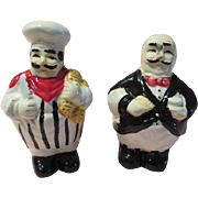 Rotund Chef and Waiter Salt and Pepper Shakers - b173