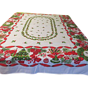 Bells, Bows, Wreathes Christmas Tablecloth - b43