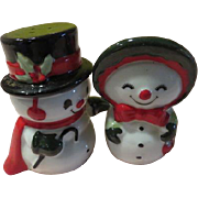 Snowman and Lady Salt and Pepper shakers - b 173