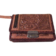 Hecho en mexico Tooled Roses leather wallet - b178