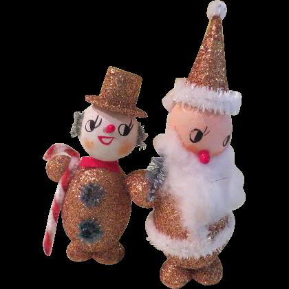 Gold Glittered Snowman and Santa - b181