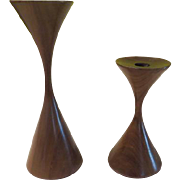 Mid-Century Teak Hourglass Candle holders - b178