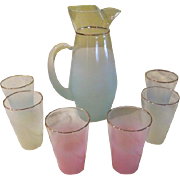 Blendo Aqua Pitcher and Pastel Glasses - b40