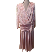 80's Glam Pink Cut Velvet Dress