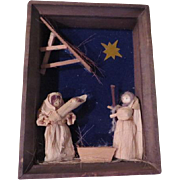 Corn Husk Nativity in Shadow Box Frame - b178