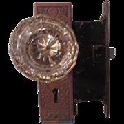Glass Door Knob Set with Copper Lock Set - b180