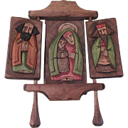 Folk Art Wood Carved Triptych Icon - b179