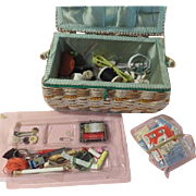 Basket weave Sewing Basket Chock Full of Sewing Notions - b175