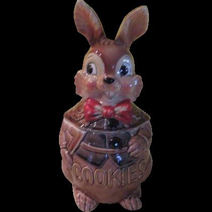 Rabbit with Bow Tie Cookie Jar - g