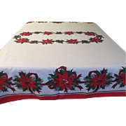 Poinsettia and Ribbon Christmas Tablecloth - b177-78